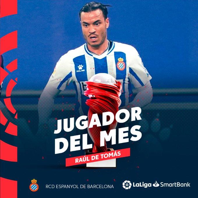 官方:西班牙人前锋德托马斯中选西乙12月最佳球员