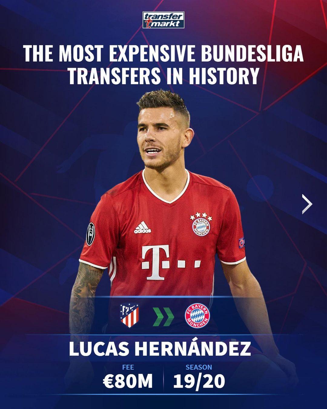 德甲最贵引援TOP5:卢卡斯8000万欧居首,拜仁占据4席