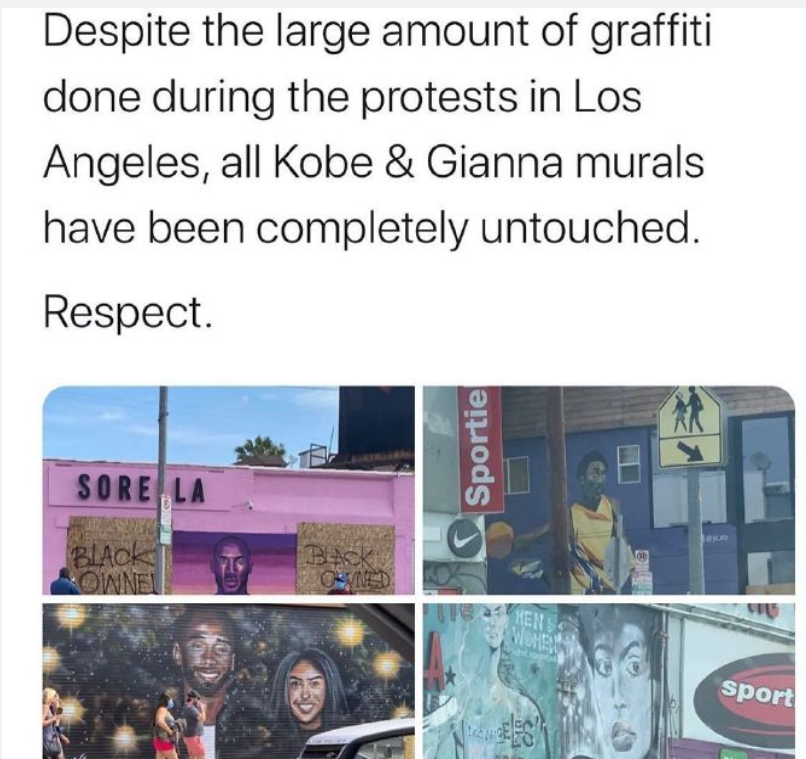 洛杉矶部分设施遭故意破坏,科比与二女儿涂鸦却被完好保留