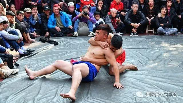 春节前往河内市梅洞村观看摔跤比赛