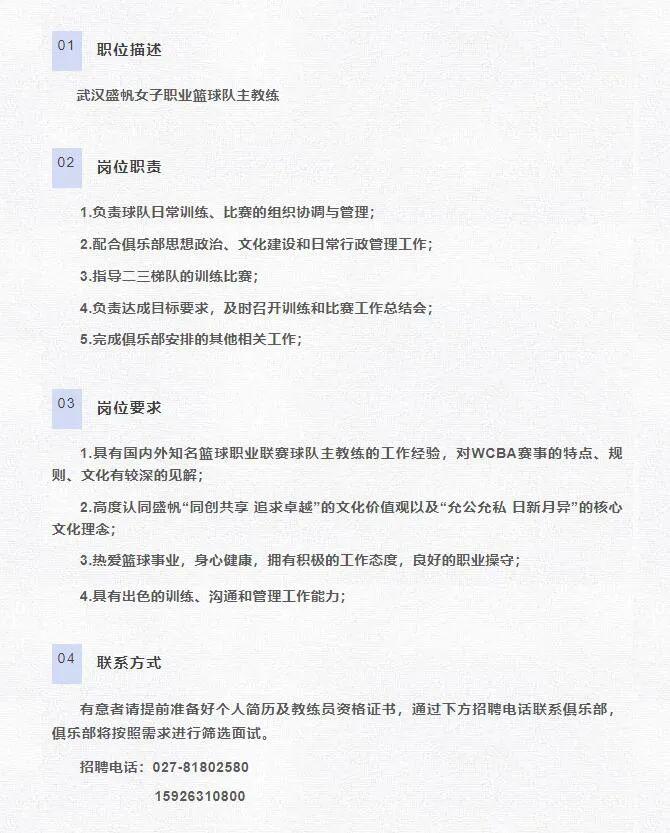武汉盛帆职业篮球沙龙揭露发布了一条招聘启事