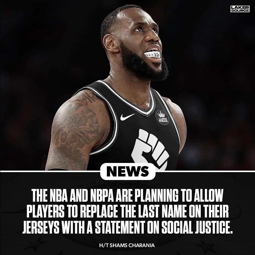NBA和NBPA接下来计划让球员可以把他们球衣上面的姓