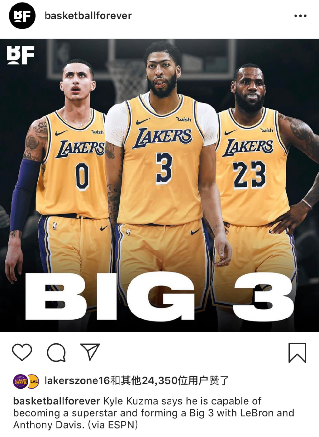 图说NBA:库兹马有信心成湖人三巨头,美国队拒绝了安东尼加入