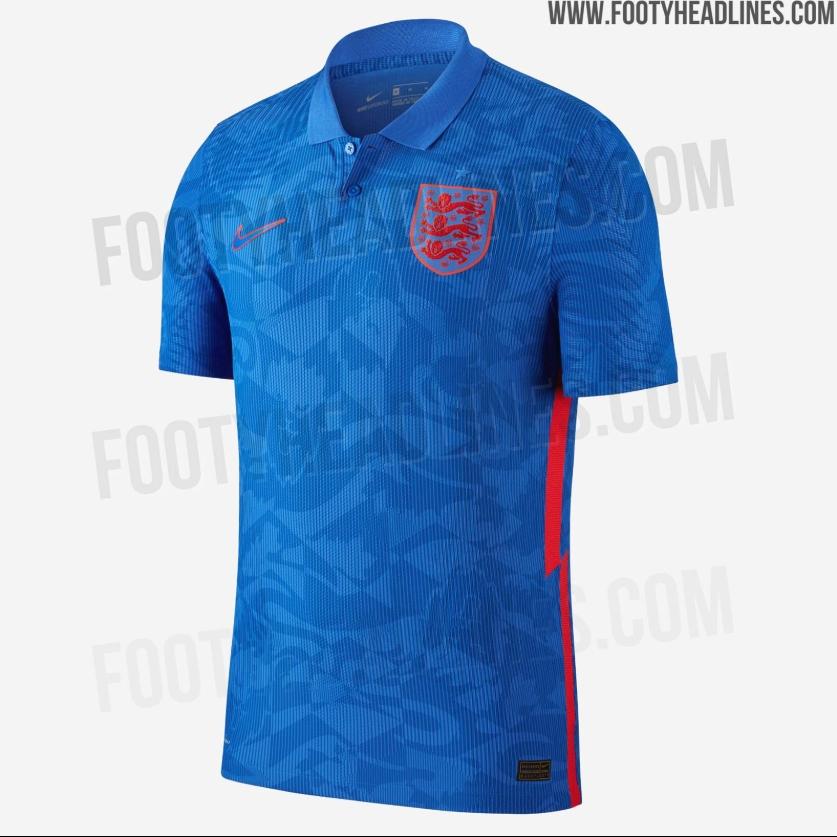 英格兰欧洲杯客场球衣曝光:宝石蓝加红色,整体印有花纹图案