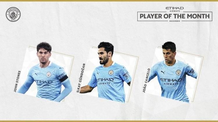曼城发布12月最佳球员候选:京多安、坎塞洛、斯通斯