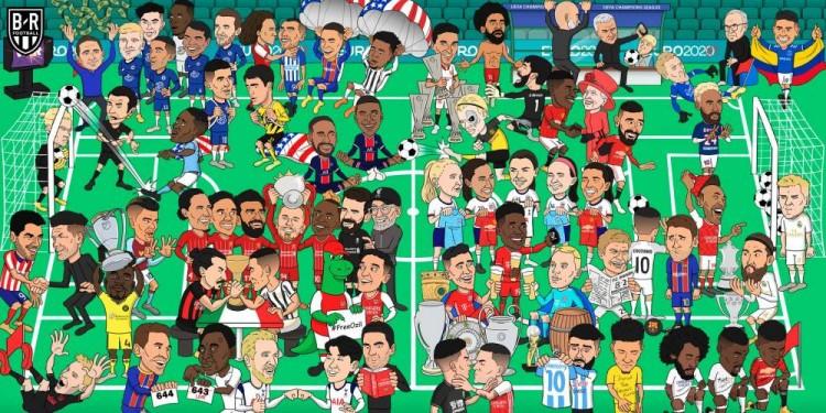 露天看台发了一张漫画回顾了2020年足坛,你能从中看出多少上一年发生过的足坛大事?