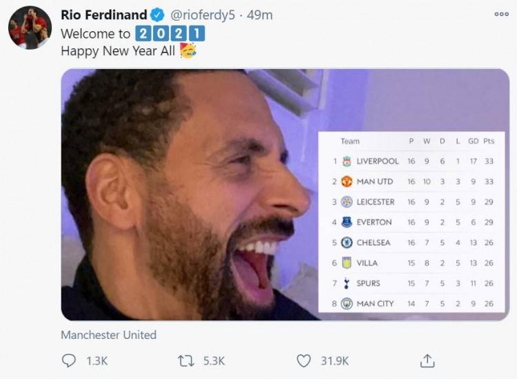 曼联积分追平第一,费迪南德晒图庆祝:欢迎来到2021年!