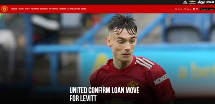 曼联中场莱维特外租至克罗地亚联赛,租期至本赛季完毕 