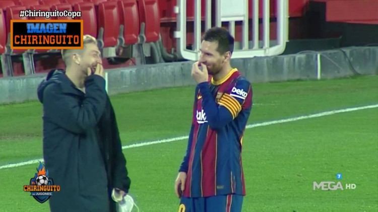 梅西和同胞戈麦斯在国王杯赛后相谈甚欢