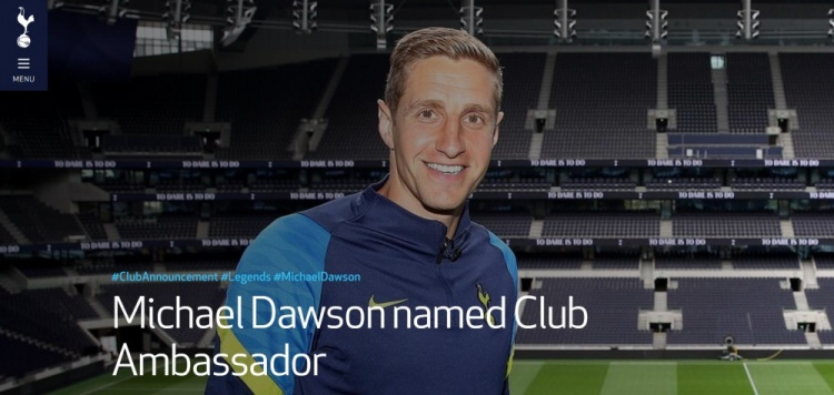 热刺官方:道森退役后将成为俱乐部大使
