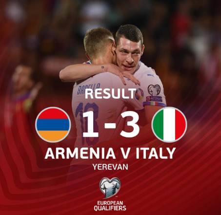 姆希塔良:意大利是强队,我们没能把握住进球机会
